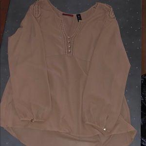 Tan long sleeve sheer blouse